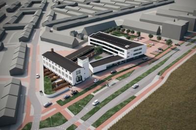 vogelvlucht perspectief monumentale visserijschool katwijk en nieuwbouw woningen